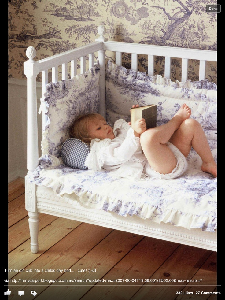 DIY Best Use For An Unused Crib Remove One Side And As A Reading Nook Or Toddler Bed