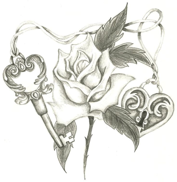 Heart and Roses Tattoo Drawings | Heart Lock, Skeleton Key, Rose by Holliewood1391