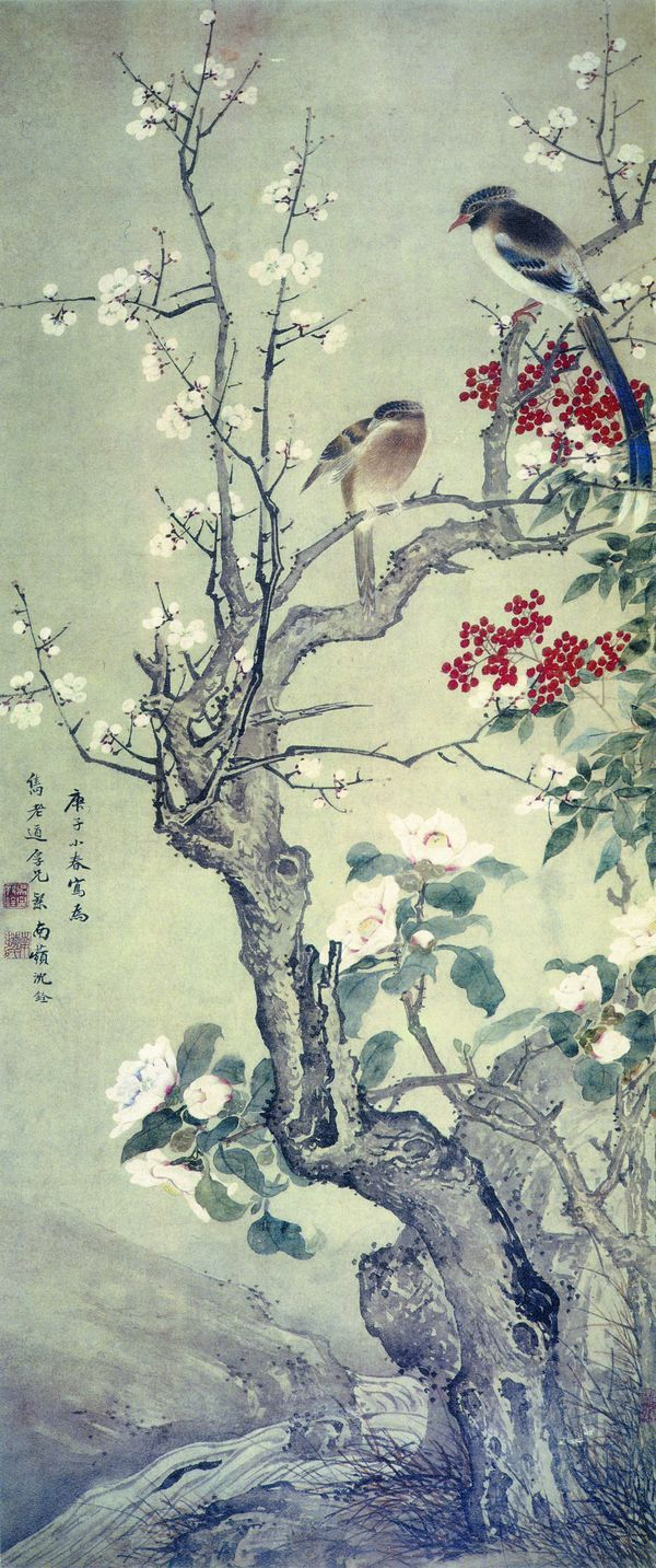 plum and birds in mountain painting by Shen Quan | Xinblog