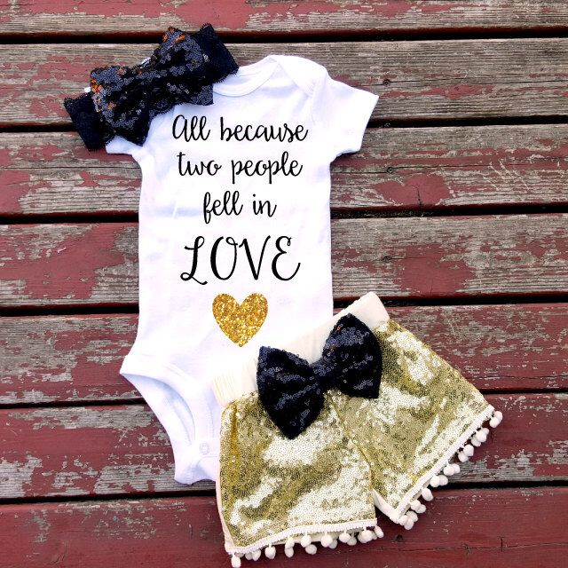All Because Two People Fell In Love Bodysuit Baby Girl  Love Sweet Baby Girl Bodysuit Heart Gold Glitter by GLITTERandGLAMshop on Etsy https://www.etsy.com/listing/263228229/all-because-two-people-fell-in-love