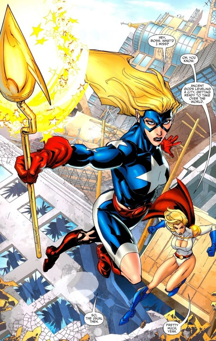 Courtney Whitmore, a.k.a. Stargirl and Power Girl, facing yet another cosmic menace