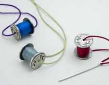 QUOIL Gallery, New Zealand - Rebecca Fargher - Cotton Reel pendants - sterling silver, silk, cotton