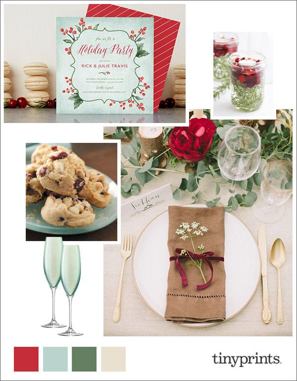 Elegant Holiday Soiree Inspiration Board with Tiny Prints holiday party invitations. #holiday #Christmas #stationery