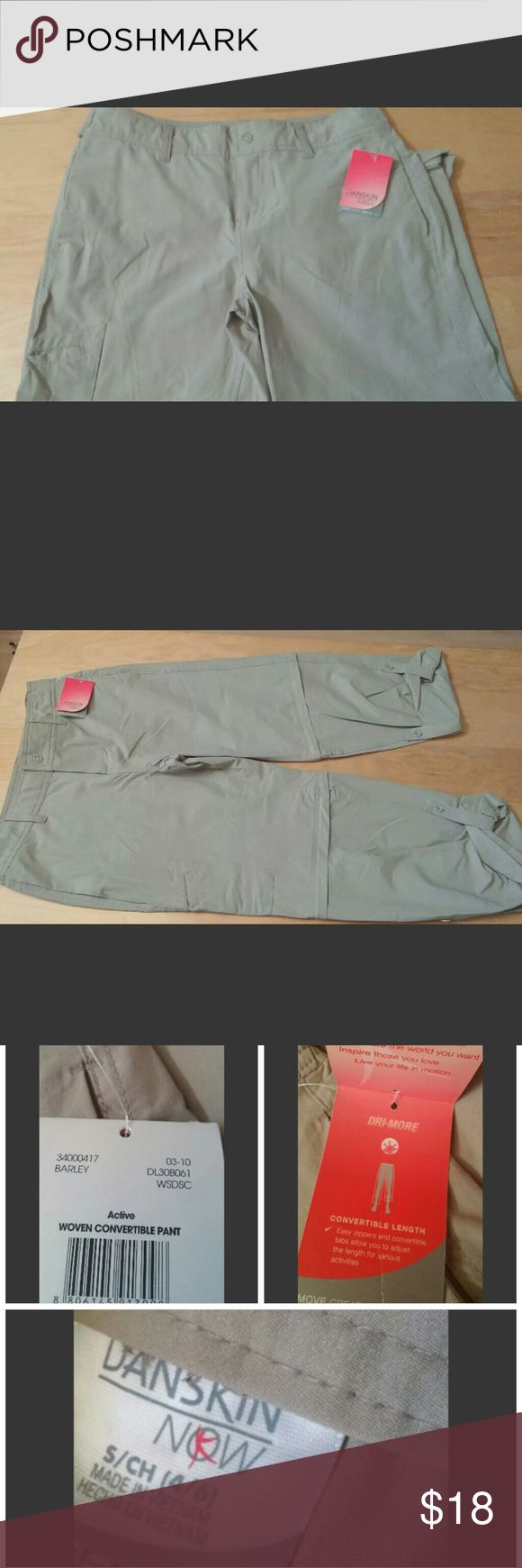 """NWT Small Danskin convertible pant with drimore ladies woven convertible Danskin pant with Drimore. size Small - color barley. 34"""" long rolled up, 16"""" waist, 23"""" inseam, 20"""" hip. Measured flat. 196/B6 Danskin Now Pants Trousers"""