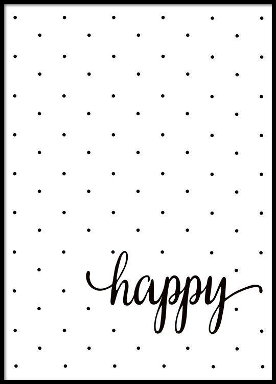 Schwarz-Weiß-Poster mit Text und Punkten.