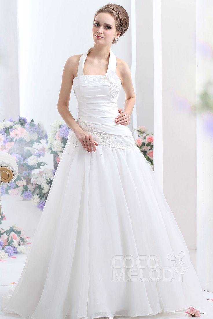 Lovely A-Line Halter Court Train Organza Wedding Dress CWLT1308A