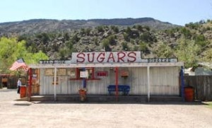 On the road between Taos and Espanola, NM (near Velarde).  MUST stop summertime eat...BBQ!