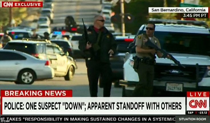 Police also confirmed that an officer, believed to be from the San Bernardino county force, was wounded in a shoot-out with the suspects and is now in hospital with non-life threatening injuries