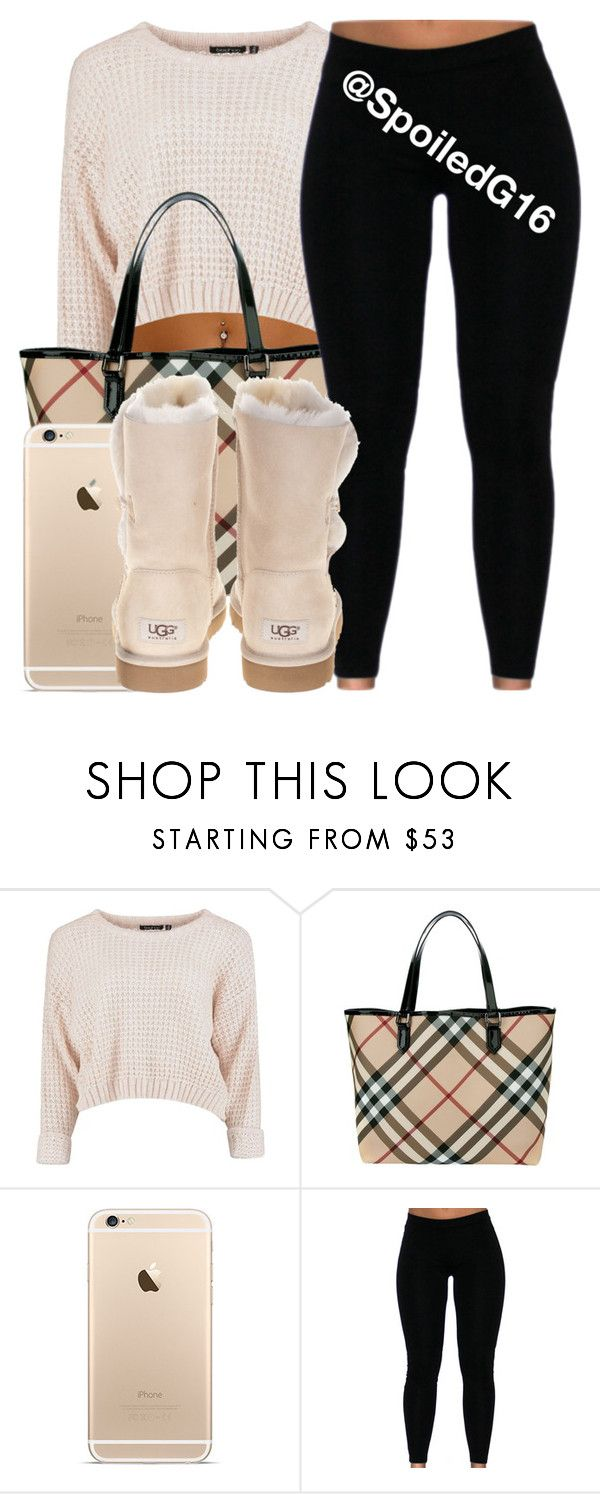 """""""Unbothered."""" by spoiledg16 ❤ liked on Polyvore featuring Burberry and UGG Australia"""