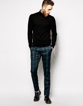 Minimalist Black Jumper With Casual Blue Plaid Pants For Man 2018