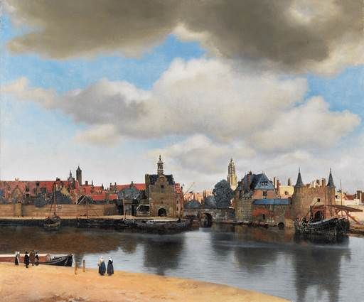 Johannes Vermeer, View of Delft, c. 1660 - 1661. On view in the Mauritshuis, The Hague.