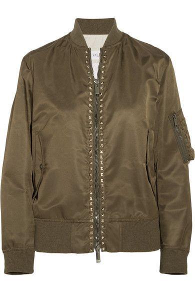 Valentino - Rockstud Satin Bomber Jacket - Army green - IT46