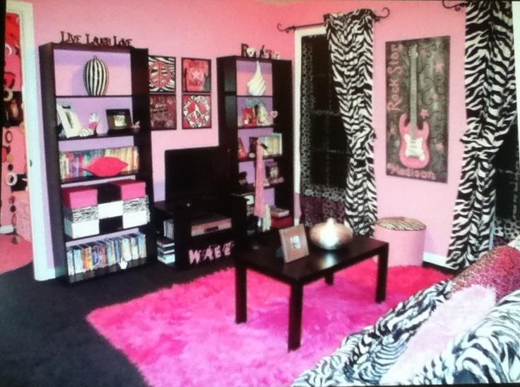 #teen #bedroom #zebra #cute #cool #girl #pink #black Part 51