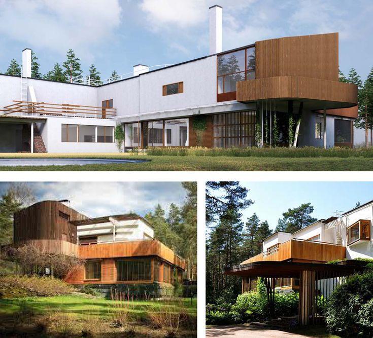 """Villa Mairea exteriores Alvar Aalto, como muchos de los arquitectos de la llamada """"segunda generación"""" del Movimiento Moderno es crítico con lo que denomina ..."""