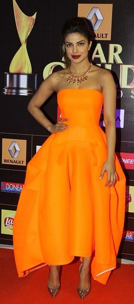 At the Star Guild Awards in India wearing Toni Maticevski.: