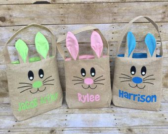 Easter Bag, Easter Basket, Personalized Easter Basket, Easter Egg Hunt Bag, Easter Bucket, Custom Easter Basket, Monogram Easter