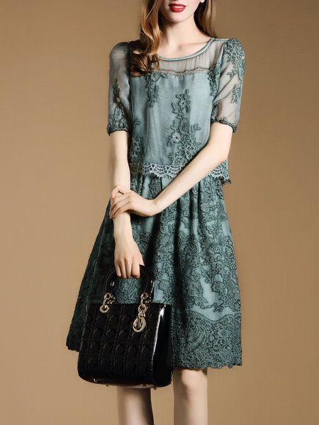 Shop Midi Dresses - Embroidered Crew Neck Elegant Short Sleeve Midi Dress…