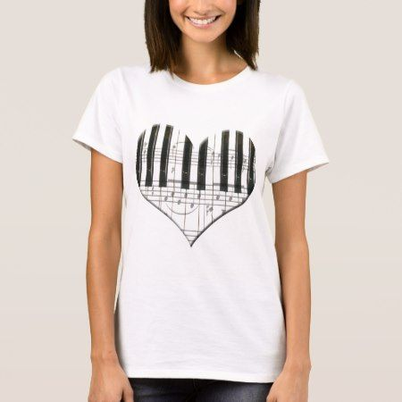 I Love Piano or Organ Music Heart Keyboard T-Shirt - tap, personalize, buy right now!