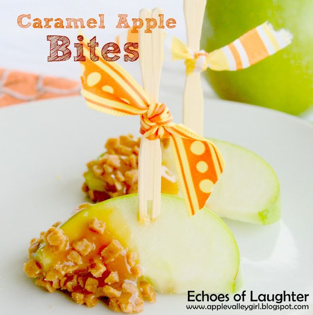 Caramel Apple Bites...much easier to eat than a whole caramel apple! Perfect for kids!