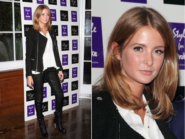 Look of the Day: Leather Trousers. Millie Mackintosh looking like a classy biker chick in leather trousers at the Style for Stroke event in London.