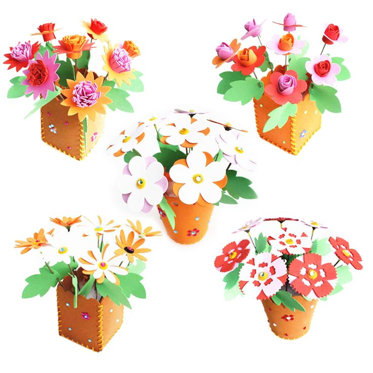 DIY Craft Kits 3D EVA Foam Flowerpot Home Decoration Block Kids Child Craft Novelty Handmade Flowerpot Early Education Toy Set #Affiliate