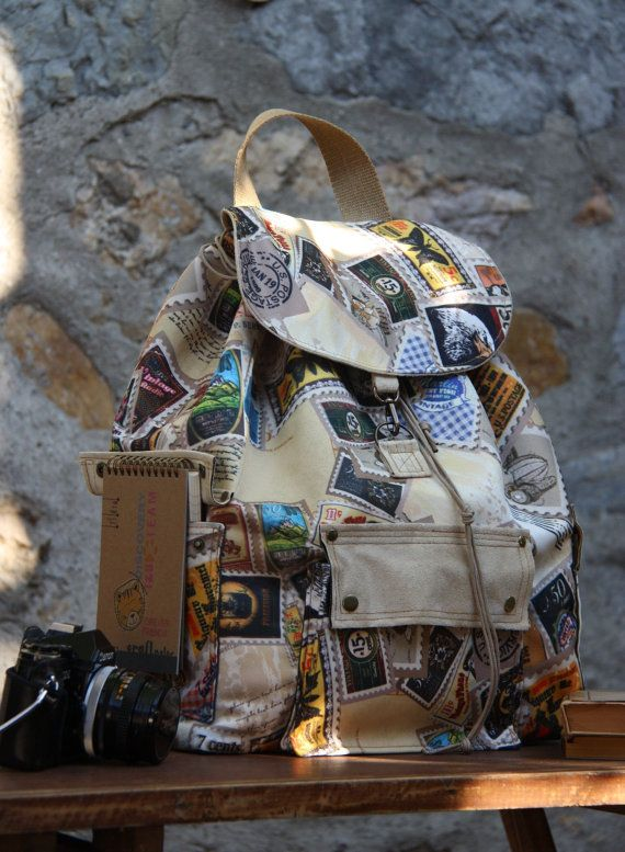 Old Stamps Prints Backpack/Large by leyyabags on Etsy, $100