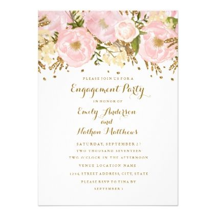 Pretty Blush Pink Gold Floral Engagement Party Card - engagement gifts ideas diy special unique personalize