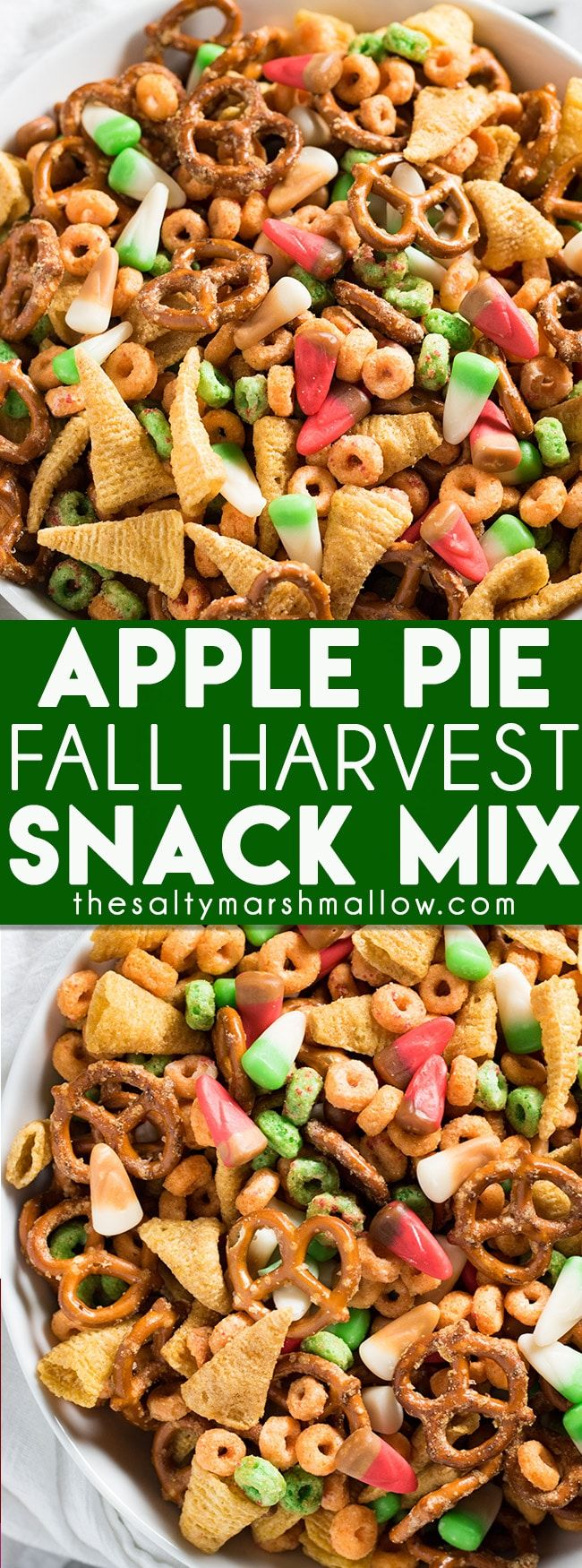Apple Pie Fall Harvest Snack Mix - A delicious salty and sweet snack mix that is perfect for fall parties or Halloween!  This snack mix recipe is easy to make and full of apple jacks, bugles, pretzels, and apple pie candy corn and a sweet brown sugar cinnamon glaze!