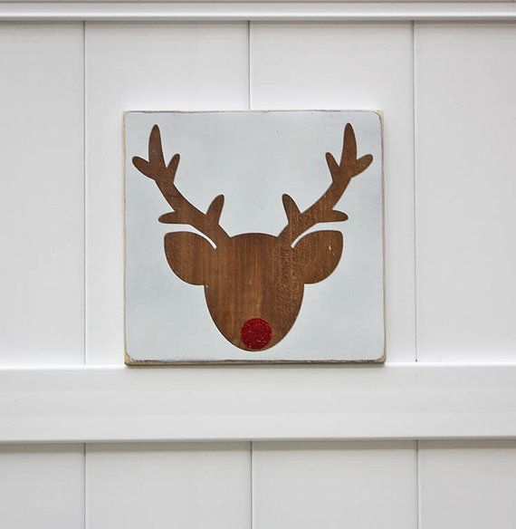 CHRISTMAS - Reindeer Head with a Red Glitter Nose  by studioninetwenty on Etsy