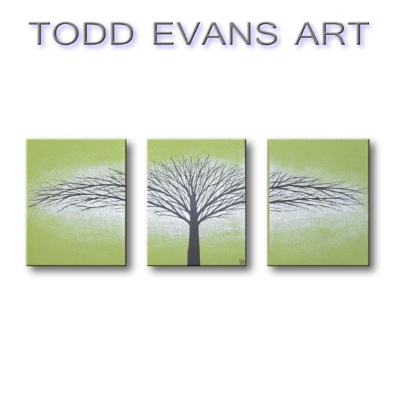 Olive Green Canvas Art Wall Hangings Small 3 Piece Set Home Living Room