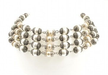 """""""Gaia"""" - Handmade antique metal plated necklace with Swarovski pearls and strasses, by Art Wear Dimitriadis"""