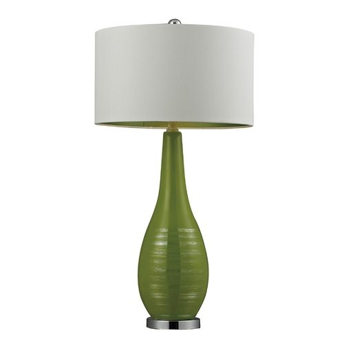 Table Lamp In Lime Green With White Drum Shade