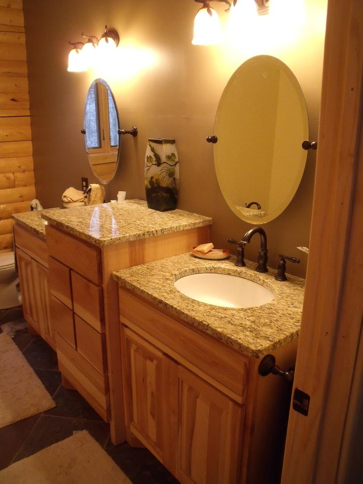 My Log Cabin Master Bath Hickory Cabinets Granite Sinks Slate Floors Home Ideas