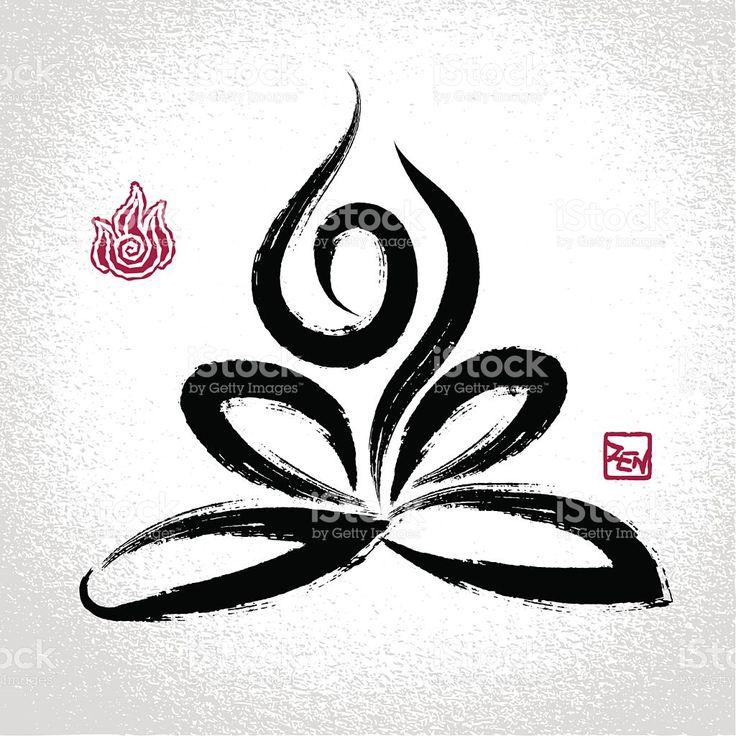 Yoga lotus pos'et feu symbole et oriental brushwork élément stock vecteur libres de droits libre de droits