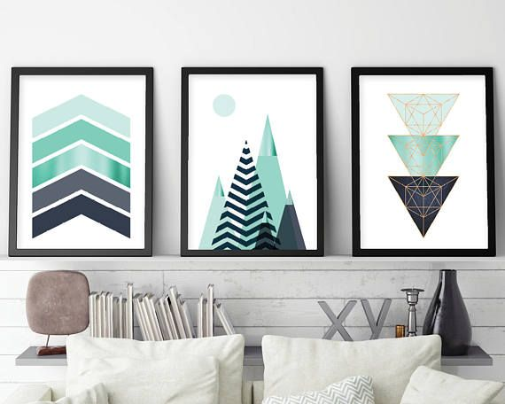 Set of 3, Printable Art, Print Set, Scandinavian Print, Mountains, Geometric, Wall Art, Home Decor, tryptic, Poster, Navy, Turquoise, Prints