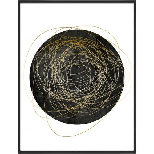 Abstract art print black and gold palette-38