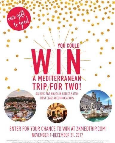 Zoës Kitchen Offers Guests an Extra Taste of the Mediterranean with Holiday Sweepstakes PLANO, Texas--(BUSINESS WIRE)--Zoës Kitchen (NYSE:ZOES), a fast-casual Mediterranean restaurant group, today announced the launch of its Win A Trip To The Mediterranean Sweepstakes. The sweepstakes offers one lucky winner and a guest the opportunity to ...