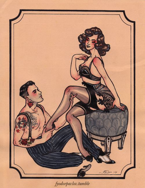 A private commission for burlesque dancer Lily Faye and her beau. Tattoos are such a pain to draw, especially when I have to re-create actua...