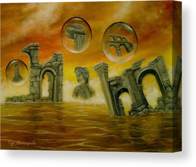 Canvas Print, Painting, monuments,temples,ancient,historical,old,era,archeological,finds,antiquity,classic,oldtimes,statue,greek,godess,european,,fantasy,scene,bubbles,seascape,water,sky,clouds,picturesque,whimsical,vibrant,vivid,colorful,orange,impressive,cool,beautiful,powerful,atmospheric,celestial,mystical,dreamy,dreamlike,contemporary,imagination,surreal,figurative,modern,fine,oil,wall,art,images,home,office,decor,artwork,modern,items,ideas,for sale,fine art america,Echoes Of The Past