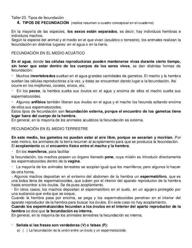 Taller 23. Tipos de fecundación   4. TIPOS DE FECUNDACIÓN (realiza resumen o cuadro conceptual en el cuaderno)   En la mayor...