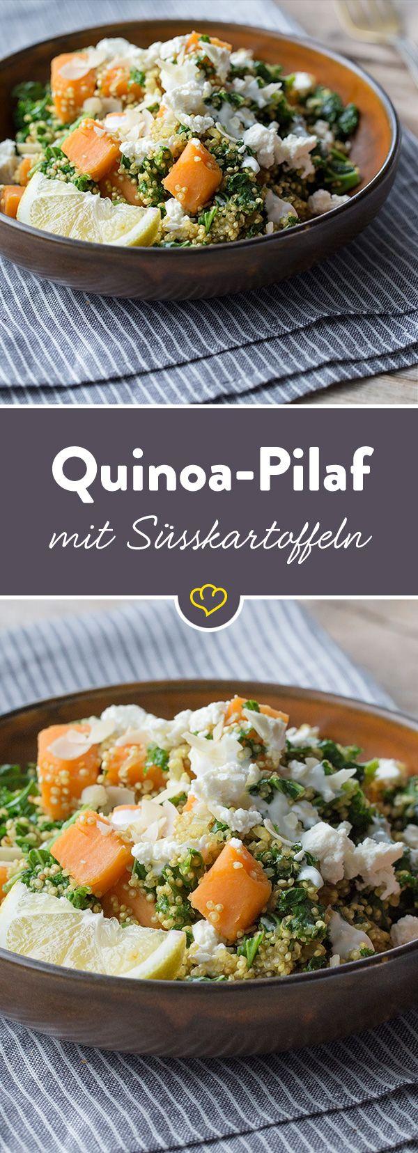 Grünkohl mal anders: zusammen mit Süßkartoffel und Quinoa wird aus dem beliebten Wintergemüse ein farbenfrohes Pfannengericht mit viel Power für kalte Tage.