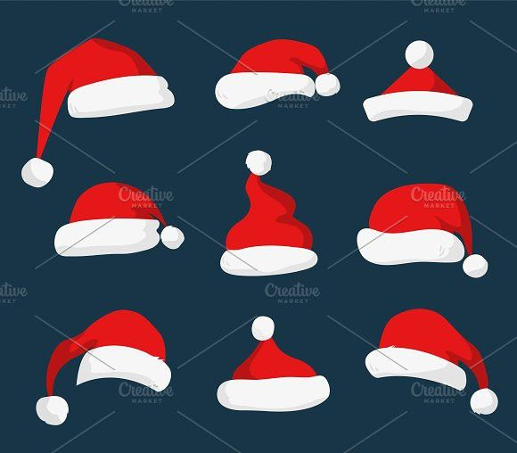 Santa Claus Red Hat Vector Set Red Hats Christmas Hat Hat Vector