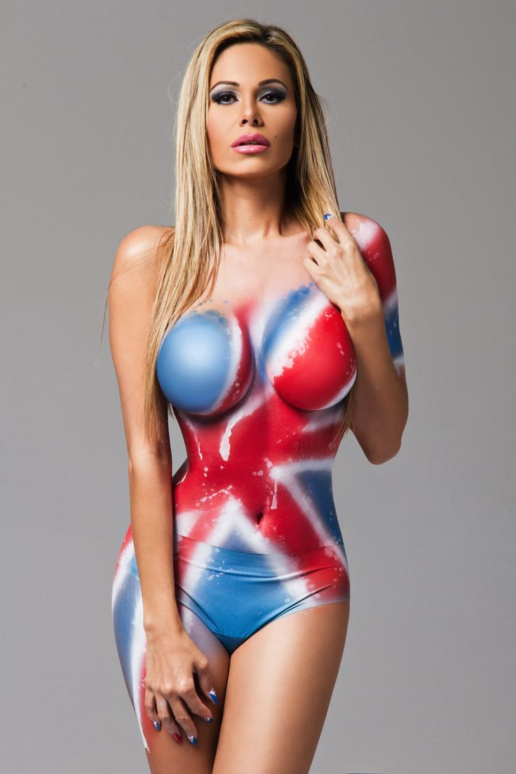 UK glamour model, Naomi Das, wearing nothing but body paint of the The Union Jack flag, courtesy of Airvolution Airbrush Studios.