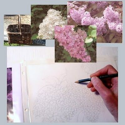 TUT  Watercolor Painting Demonstration - Basket of Lilacs