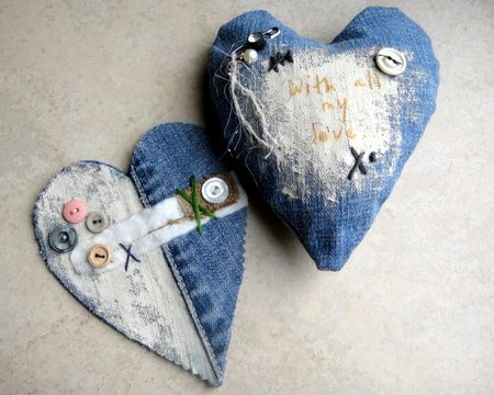 ..denim patchwork hearts