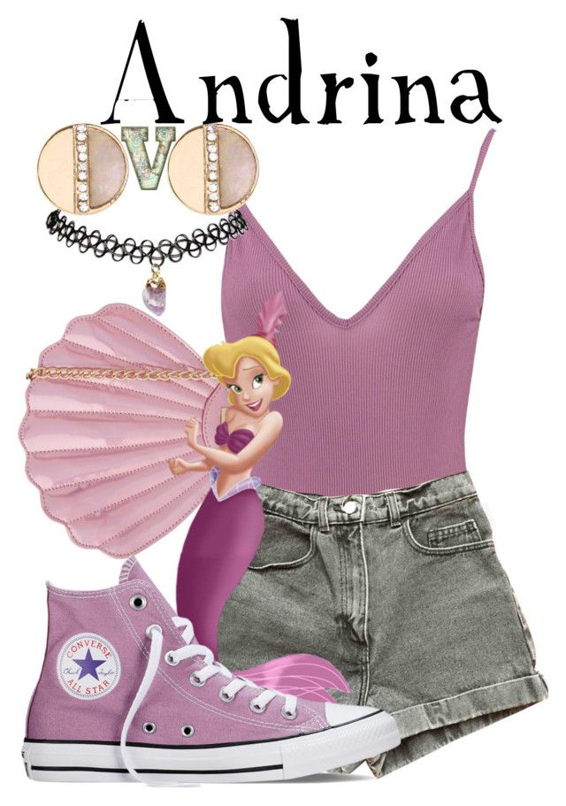"""""""Andrina (The Little Mermaid)"""" by fabfandoms ❤ liked on Polyvore featuring Boohoo, American Apparel, Skinnydip, Converse, Wet Seal and New Look"""
