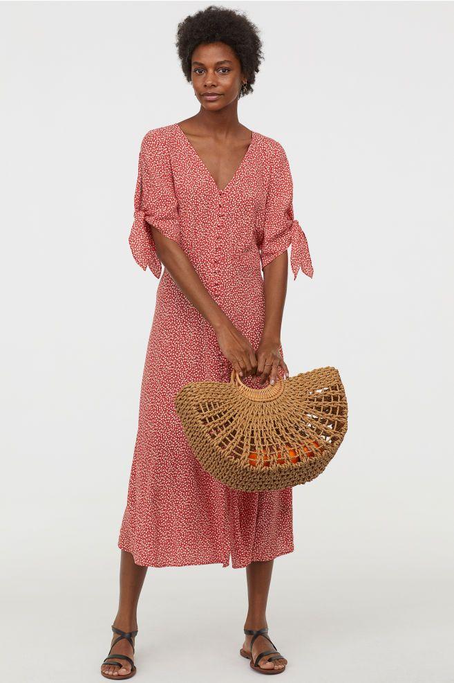 0684c75d7f5 Krepové šaty - Červená květovaná - ŽENY