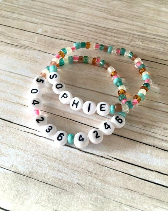 Word Beads can be made into bracelets with a name and number for emergencies.