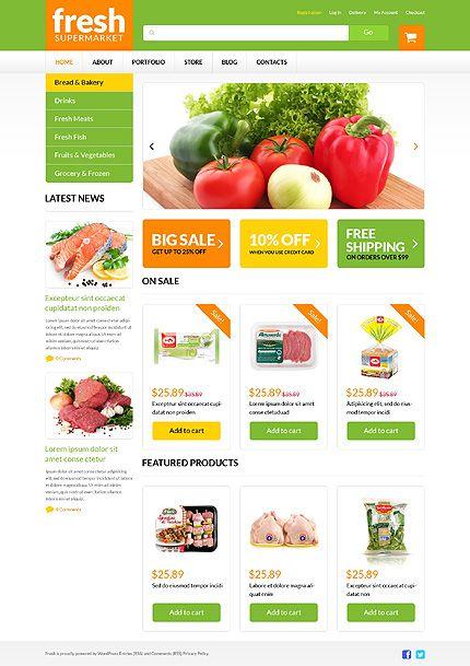Fresh by Hermes | Wordpress Supermarket website template. $114