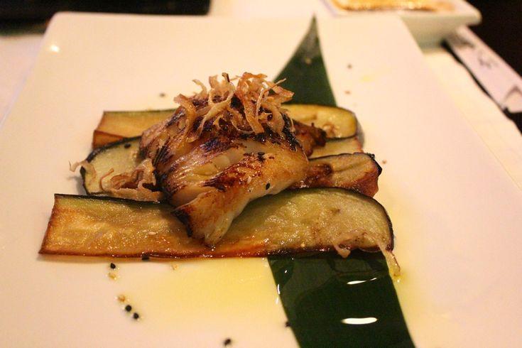 Miso black cod on sauteed eggplants at Me Geisha fusion sushi in Rome